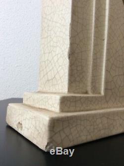 Pendule céramique craquelée décor floral doré skyscraper signé Orchies Art Déco
