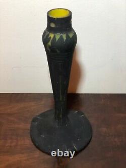 Pied De Lampe Art Deco En Pate De Verre Signée Muller Freres Luneville