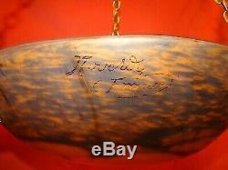 Plafonnier coupe en pâte de verre signée Noverdy France époque art-déco (1925)
