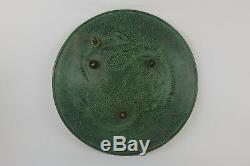 Plat En Bronze Signé Max Le Verrier Trois Dauphins Diam. 32,5 CM
