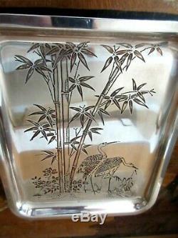 Plateau métal argenté gravé de bambous et de cigognes signé CHRISTOFLE, Art Déco