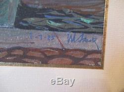 Port de Toulon daté 1925. Gouache sur carton 21x27cm signée. Art Déco. Superbe