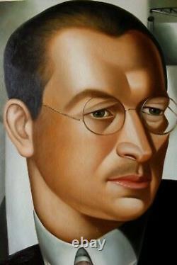 Portrait art deco tableau peinture huile sur toile signée
