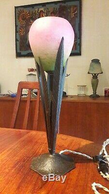 RARE Lampe Art Deco pied ROBJ et tulipe signée SCHNEIDER, 1900 1930 lamp