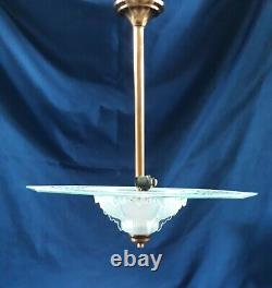 RARE Lustre Art Déco cristal Etched DISC signe EZAN, chandelier ceiling light
