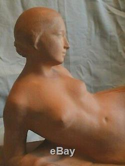 RARE nu, Sculpture Art Deco en terre cuite signée Octave Larrieu (1881-1965)