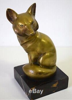 RENARD Bronze animalier doré satiné Art Déco Signé G H LAURENT XX 20th