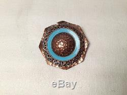 Rare! Broche Cocarde Art Deco 1930 Signee Jean Augis Bronze Et Email Bleu