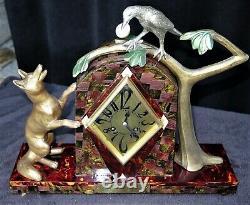 Rare et superbe garniture / pendule signée P. SEGA en galalithe Art deco clock