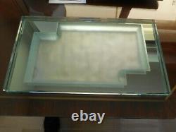 Rare grand plateau Art Déco moderniste en épais verre Jean LUCE Non signé