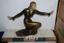 Regule Art Deco Art Nouveau Danseuse Sur Marbre Signe Roggia