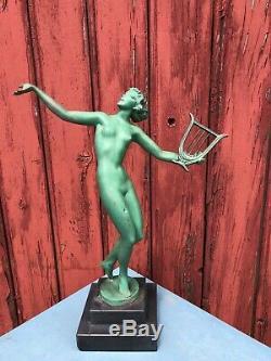 Regule Art Deco Signe Fayral 1930 Femme Nue A La Harpe