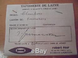 René Fumeron Art Déco XXème Rare Tapisserie Imprimée Signée dessin et sur Bolduc