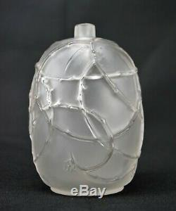 René Lalique Beau Vase Églantines Verre Satiné Soufflé Moulé Signé Art Déco