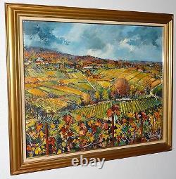 Roland Irolla tableau peinture HST Vignoble Champenois Hautvillers daté 1974