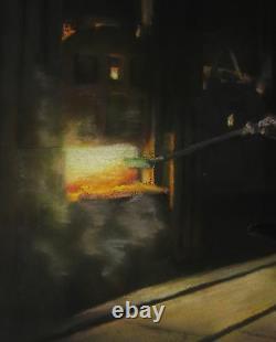 Saget Pastel Dessin Forge Ouvrier Haut Fourneau Peinture Sociale Tableau Usine