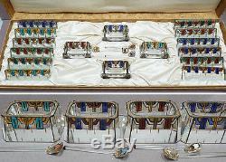 Salerons + porte-couteaux ART DECO 1925 signés MOREAU verre + émail