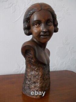 Sculpture ART DECO Buste de femme Terre Cuite Signée P. DUMONT (1920-1987)