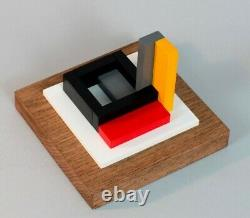 Sculpture En Bois Polychrome Abstraction Neoplasticisme Signee Numerotee (1)