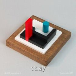 Sculpture En Bois Polychrome Abstraction Neoplasticisme Signee Numerotee (3)