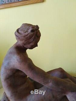 Sculpture ancienne terre cuite buste art déco femme nu au bandeau statue 1942