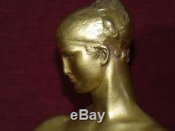Sculpture bronze jeune femme(Artémis)au lévrierR. Rivoire 1930 Art-Déco