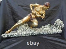 Sculpture homme athletique Adolpho Cipriani d'époque Art Déco 1930