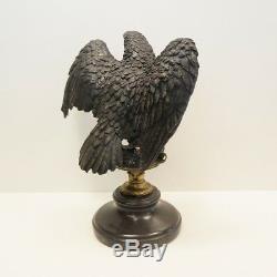 Statue Aigle Oiseau Style Art Deco Style Art Nouveau Bronze massif Signe