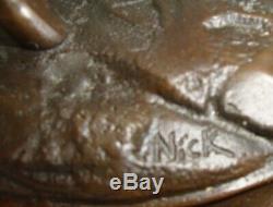 Statue Cheval Style Art Deco Style Art Nouveau Bronze massif Signe