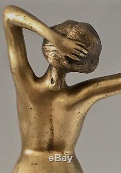 Statue En Bronze Doré Art Déco Signée Paul Philippe Intitulée Réveil