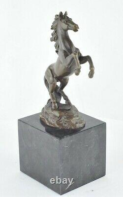 Statue Sculpture Cheval Animalier Style Art Deco Bronze massif Signe