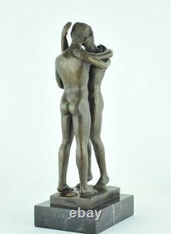Statue Sculpture Couple Sexy Style Art Deco Bronze massif Signe