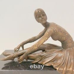 Statue Sculpture Danseuse Charleston Style Art Deco Bronze massif Signe