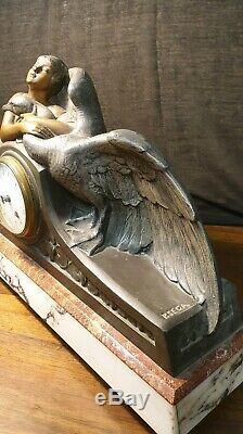 Statue garniture de cheminée art nouveau / déco signé SECA France pendule