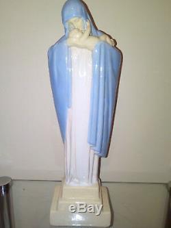Statue vierge à l'enfant signé HEUVELMANS art deco porcelaine émaillée idem robj