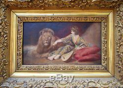 Superbe ancien tableau non signé, dompteuse de lion, femme Art déco, cirque