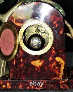 Superbe garniture / pendule signée P. SEGA en galalithe french Art deco clock