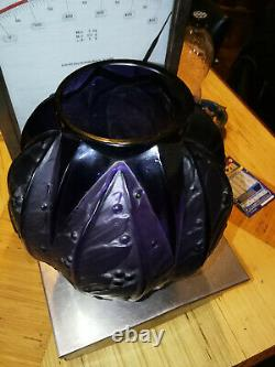 Superbe gros vase violet Verlys les lauriers d époque art déco non signé