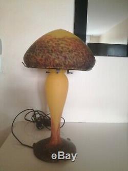 Superbe lampe champignon signé Vianne art déco en pate de verre 43 cm