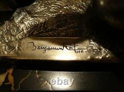 Superbe paire d'anciens serre livres signé Benjamin Rabier régule argenté