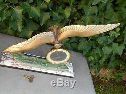 Superbe pendule ART DECO signée SILVOZ PARIS sur marbre avec mouette en vol