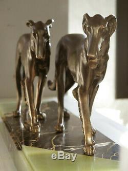 Superbe statue Art Deco Levriers (Scali) sur marbre signé (Bousquet!) barzoï
