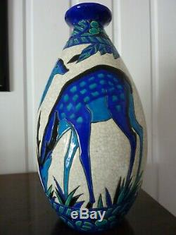 Superbe vase art déco, céramique craquelée KERAMIS signé Charles CATTEAU 1925