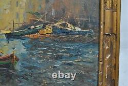 Tableau HSP marine port pêcheurs signé Maxent Martigues Sète 1930 1940