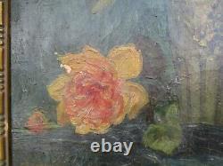 Tableau Huile Sur Toile Georges Eugene Lorgeoux 1871-1953 Bouquet Roses Fleurs
