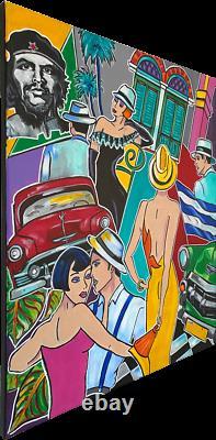 Tableau Kris Milvy Art Déco Cuba Caraïbes Danse 54 x 65 cm ARTISTE COTE DROUOT