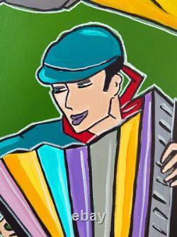 Tableau Kris Milvy Guinguette Danse Bord Marne 80x80 cm ARTISTE COTE DROUOT