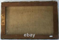 Tableau, Peinture Ancienne Huile sur Toile XIXème signé, Paysage, Montagne, Hiver