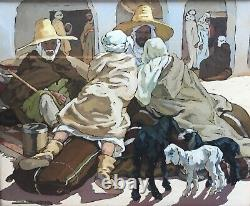 Tableau Peinture Huile Algérie Orientaliste Marché Ghardaïa Yvonne Kleiss Herzig