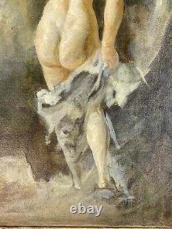 Tableau / Peinture / Huile Sur Toile / Femme Nue Signé F. Cacan 1880 / 1979
